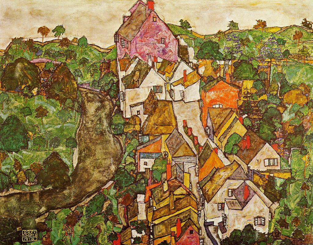 Landscape at Krumau by Egon Schiele, 1916